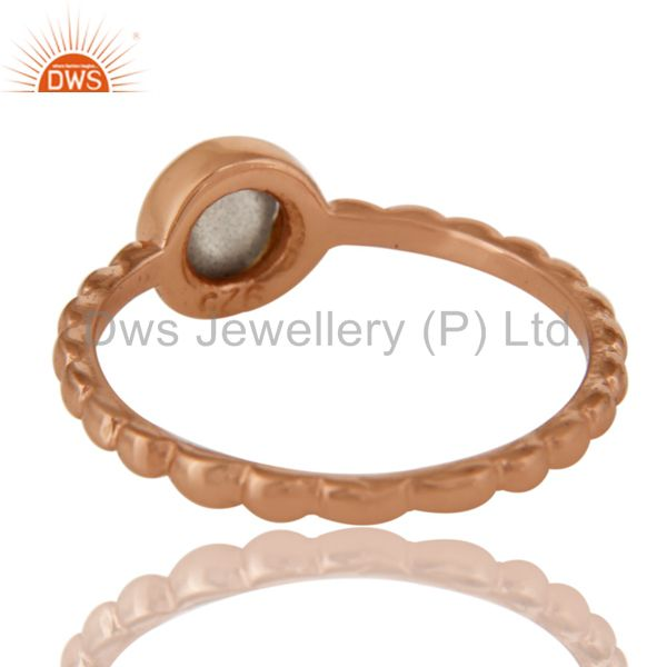 Suppliers Shiny 14K Rose Gold Plated Sterling Silver Labradorite Hammered Stackable Ring