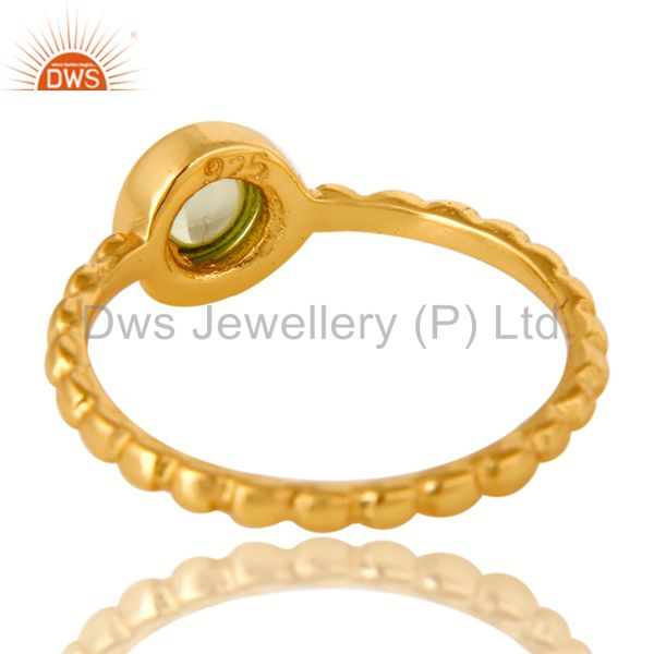 Suppliers Shiny 14K Yellow Gold Plated Sterling Silver Peridot Hammered Stacking Ring
