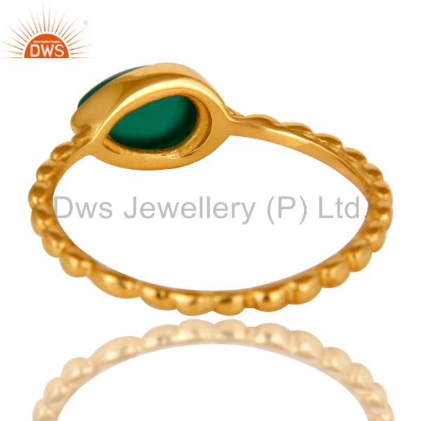 Suppliers 14K Yellow Gold Plated Sterling Silver Green Onyx Hammered Stacking Ring