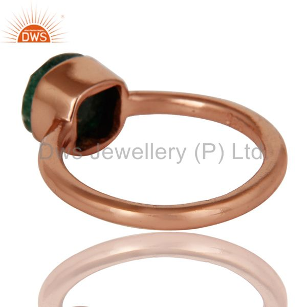 Suppliers 18K Rose Gold Plated Sterling Silver Green Jade Gemstone Stackable Ring