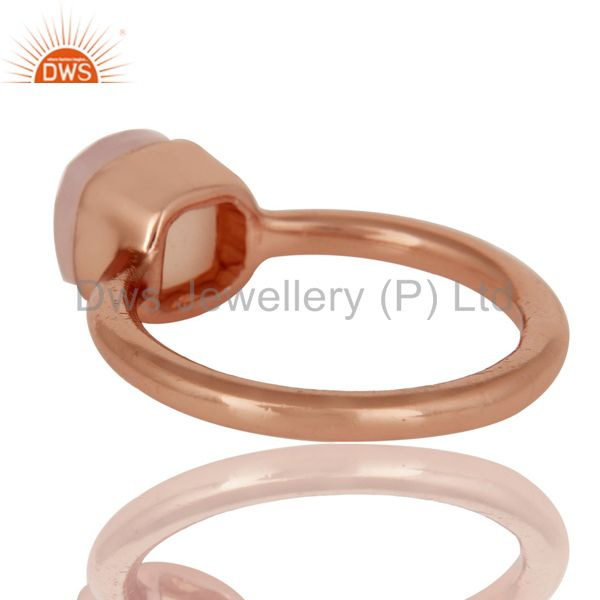 Suppliers 18K Rose Gold Plated Sterling Silver Rose Chalcedony Gemstone Stackable Ring
