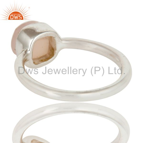 Suppliers 925 Sterling Silver Faceted Rose Quartz Gemstone Stackable Ring
