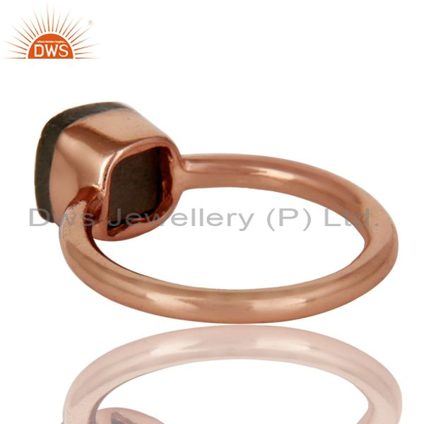 Suppliers 18K Rose Gold Plated Sterling Silver Pyrite Gemstone Stackable Ring
