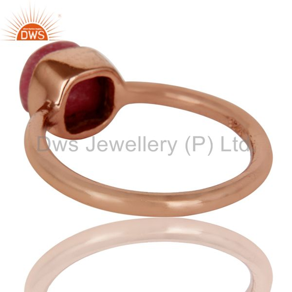 Suppliers 18K Rose Gold Plated Sterling Silver Rhodonite Gemstone Stackable Ring