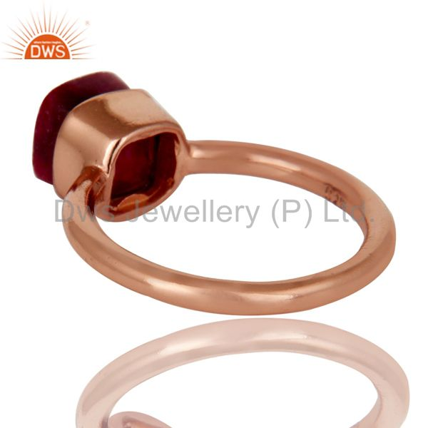 Suppliers 18K Rose Gold Plated Sterling Silver Natural Ruby Gemstone Stackable Ring
