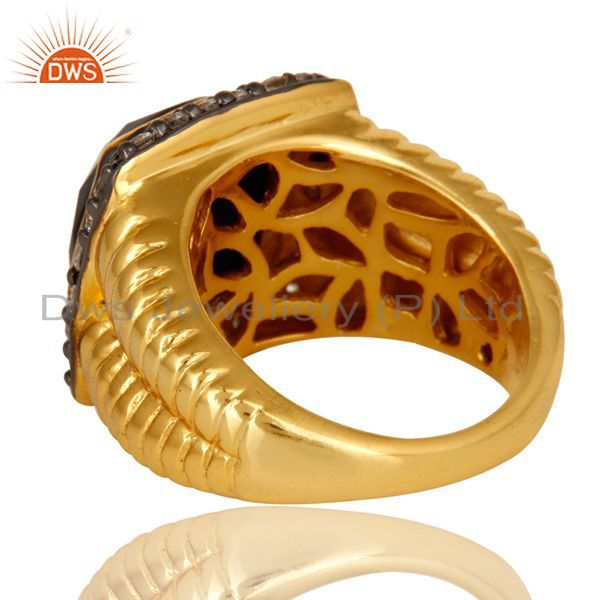 Suppliers Shiny 14K Yellow Gold Plated Sterling Silver Black Onyx And CZ Cocktail Ring