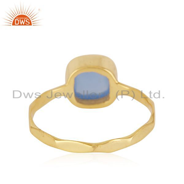 Suppliers Hand Hammered Gold Plated Brass Fashion Gemstone Ring Manufacturer
