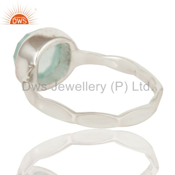 Suppliers Aqua Chalcedony Solid Sterling Silver Stackable Ring