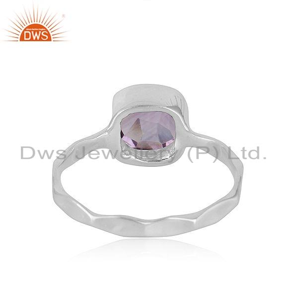 Suppliers Natural Amethyst Gemstone Sterling Fine Silver Designer Ring Jewelry