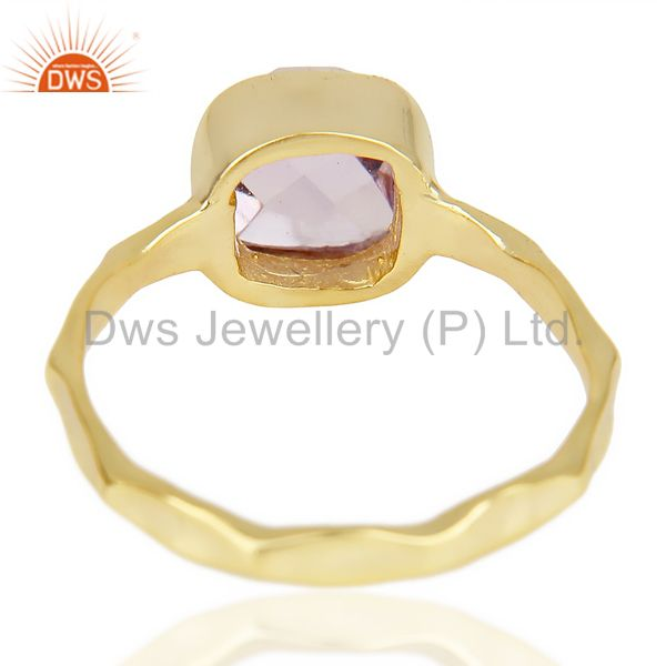 Suppliers Natural Amethyst Cushion Shape Studded Gold Plated Hammered Silver Ring