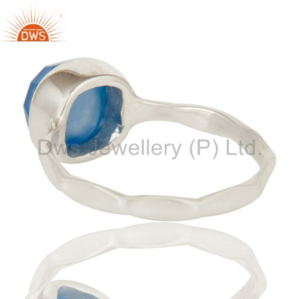 Suppliers Blue Chalcedony Solid Sterling Silver Handmade Stackable Ring