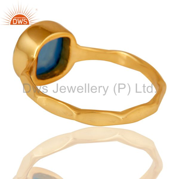 Suppliers Blue Chalcedony Sterling Silver 18K Yellow Gold Plated Stackable Ring