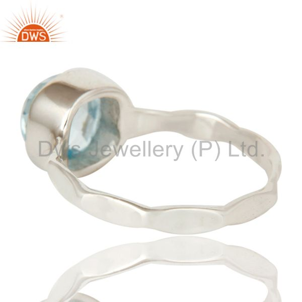 Suppliers Sterling Silver Blue Topaz Hand Hammered Stackable Ring