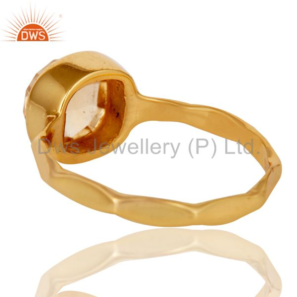 Suppliers 18K Yellow Gold Plated Citrine Gemstone Sterling Silver Stackable Ring
