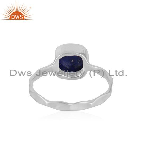 Suppliers Natural Lapis Gemstone Handmade Sterling Silver Ring Jewelry For Girls