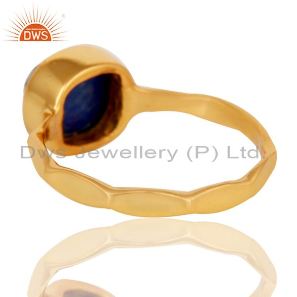 Suppliers Sterling Silver Lapis Lazuli 18K Yellow Gold Plated Stackable Ring Hamdmade Ring