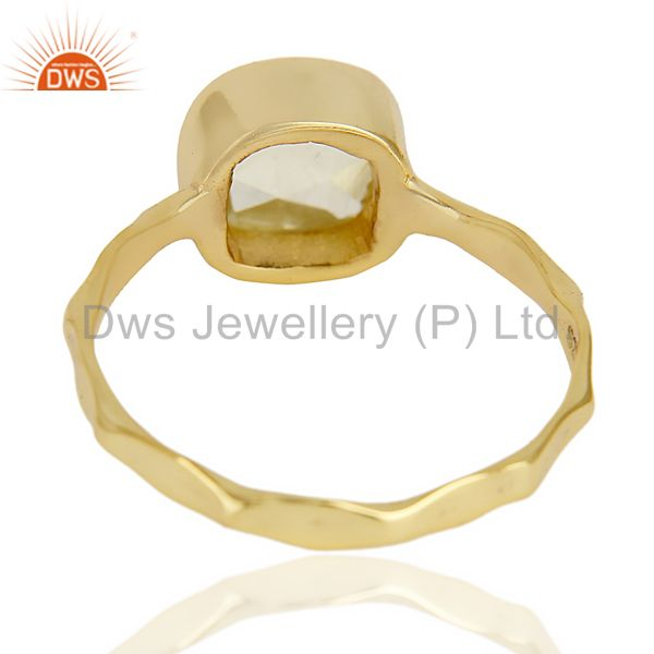Suppliers Lemon Topaz Cushion Shape Studded Gold Plated Hammered Ring  In Solid Silver