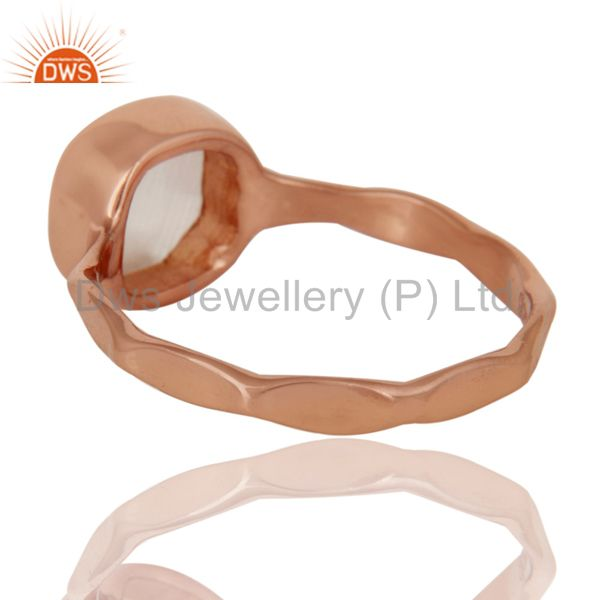 Suppliers White Moonstone Sterling Silver Rose Gold Plated Stackable Ring Handmade Ring