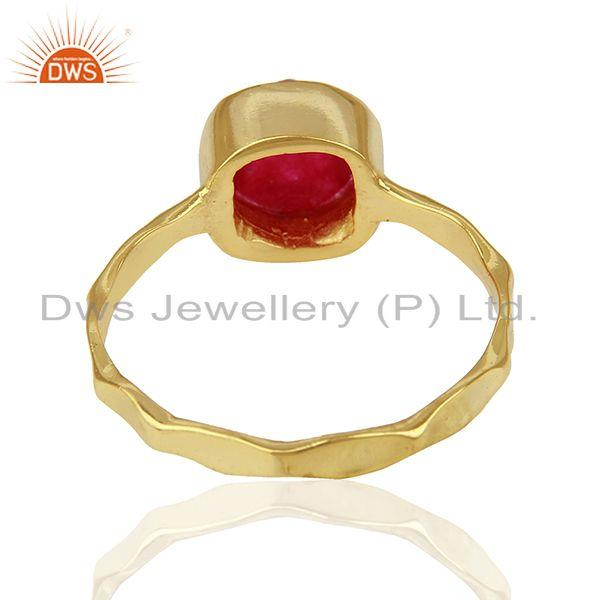 Suppliers Red Aventurine Gemstone Gold Plated 925 Silver Girls Ring Supplier