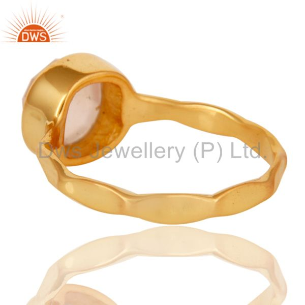 Suppliers 18K Yellow Gold Plated Dyed Rose Chalcedony Sterling Silver Stackable Ring