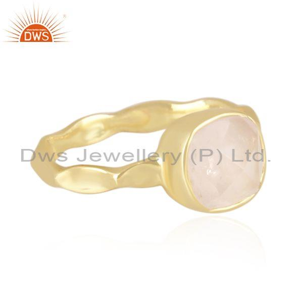 Handmade and handhammered rose quartz gold on silver ring
