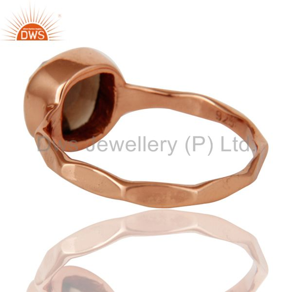 Suppliers Rose Gold Plated Rose Cut Smokey Quartz Sterling Silver Stackable Ring