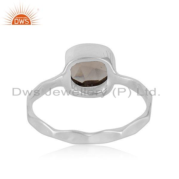 Suppliers New Look Sterling Fine Silver Smoky Quartz Gemstone Ring Jewelry