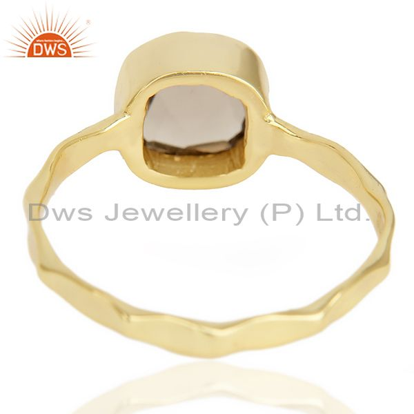 Suppliers Smoky Topaz Cushion Shape Studded Gold Plated Hammered Ring  In Solid Silver