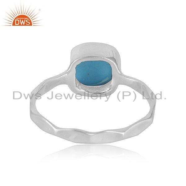 Suppliers 925 Sterling Fine Silver Natural Turquoise Gemstone Girls Ring Jewelry