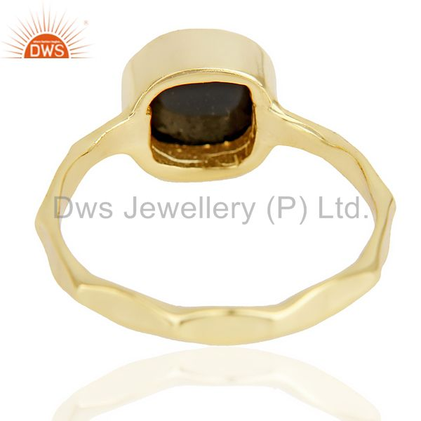 Suppliers Black Onyx Cushion Shape Studded Gold Plated Hammered Ring  In Solid Silver