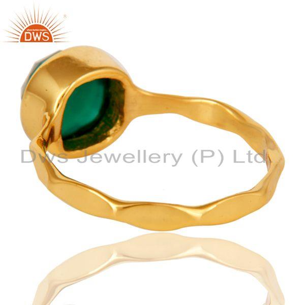 Suppliers 18K Yellow Gold Plated Green Onyx Sterling Silver Stackable Ring