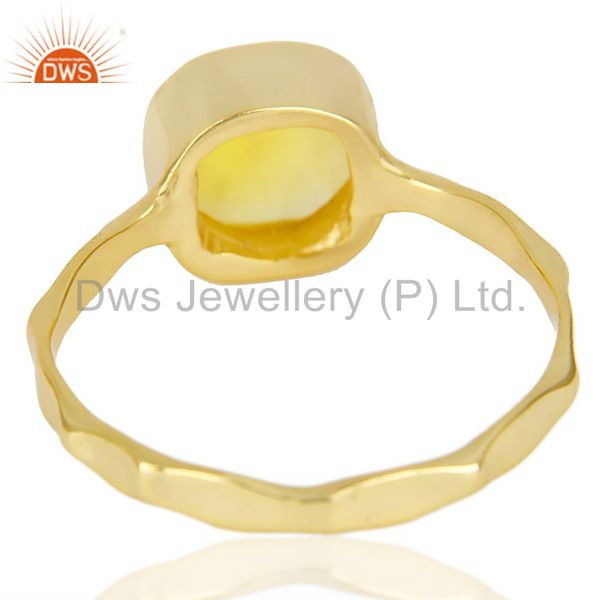 Suppliers Yellow Chalcedony Cushion Shape Gold Plated Hammered Ring  In Solid Silver