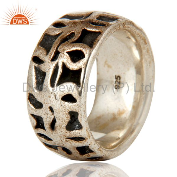 Suppliers Solid Sterling Silver Oxidized Mens Ring 925 Silver Jewelry Mens Ring