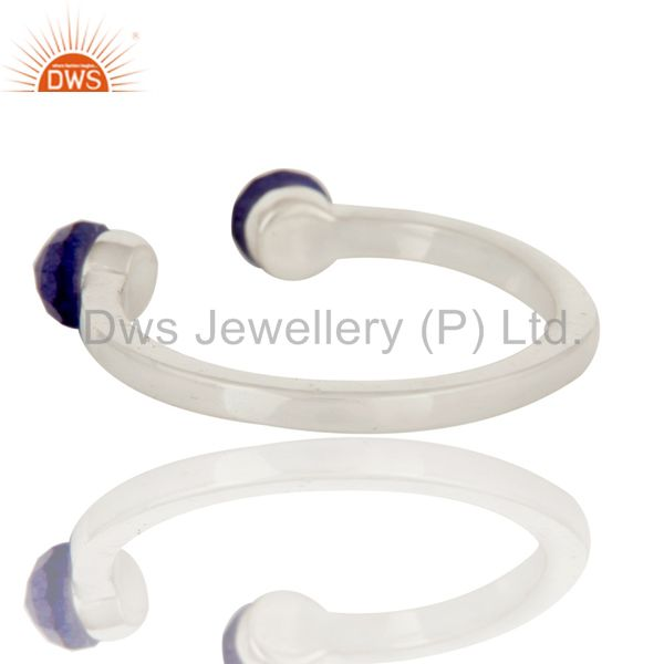 Suppliers Handmade Solid 925 Sterling Silver Dyed Sapphire Openable Stackable Ring Jewelry