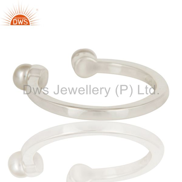 Suppliers Beautiful White Pearl Bead and Sterling Silver Open Stackable Ring