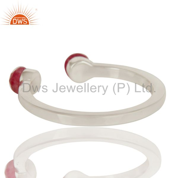 Suppliers Beautiful Dyed Ruby and Sterling Silver Open Stackable Ring