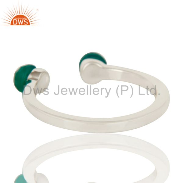 Suppliers Green Onyx and Sterling Silver Open Stackable Ring