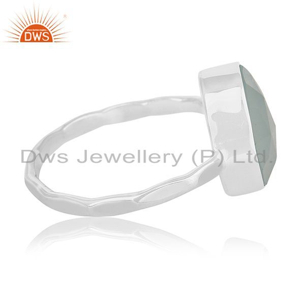 Suppliers Aqua Chalcedony Gemstone 925 Silver Handmade Ring Manufacturers