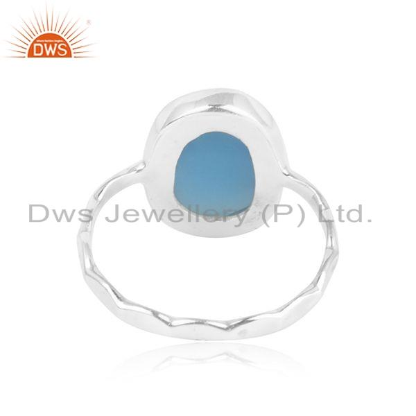 Suppliers Natural Blue Chalcedony Gemstone New Sterling Fine Silver Ring Jewelry