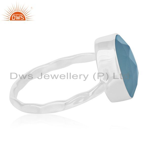 Suppliers Handmade 925 Silver Blue Chalcedony Gemstone Ring Manufacturers from India