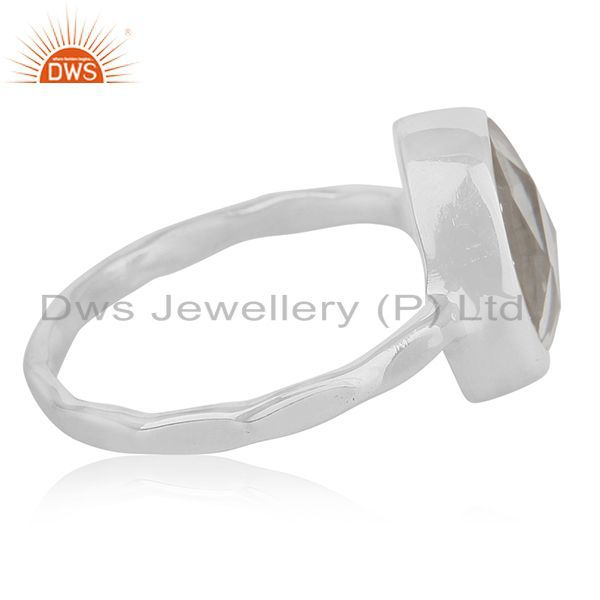 Suppliers Crystal Quartz Multi Checker 925 Sterling Silver Ring Manufacturer for Brands