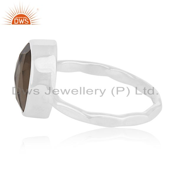 Suppliers Smoky Quartz Handmade 925 Sterling Silver Ring Manufacturer for Retailers