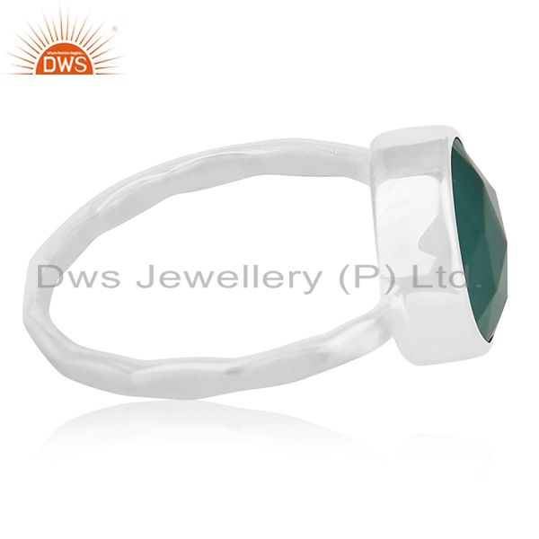 Suppliers Bezel Set Green Onyx Gemstone 925 Sterling Silver Ring Jewelry Wholesale