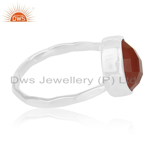 Suppliers Red Onyx Gemstone Sterling 925 Silver Ring Jewelry Manufacturer for Retailers