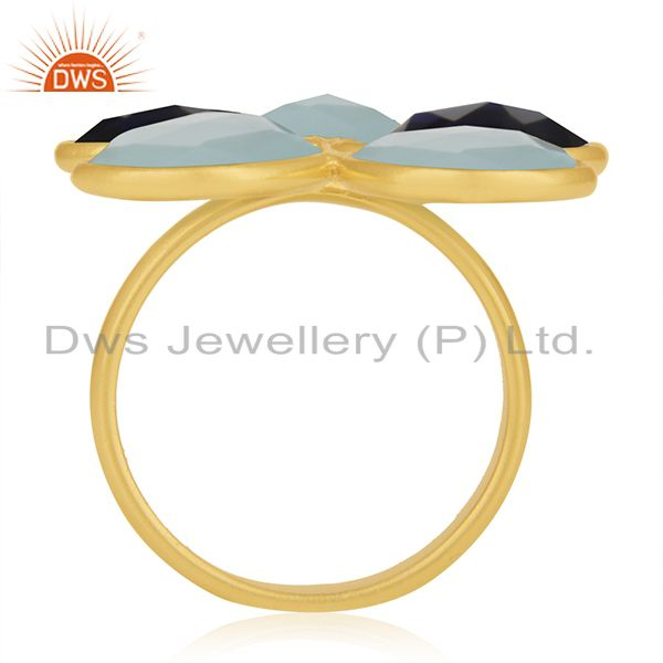 Suppliers Gold Plated 925 Silver Multi Gemstone Cocktail Ring Manufacturer Custom Jewelry
