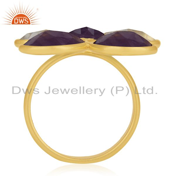 Suppliers Lemon Topaz and Amethyst Gemstone 925 Silver Gold Plated Cocktail Ring Wholesale