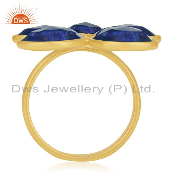 Suppliers Lapis Lazuli and Blue Corundum Gemstone Sterling Silver Gold Plated Ring