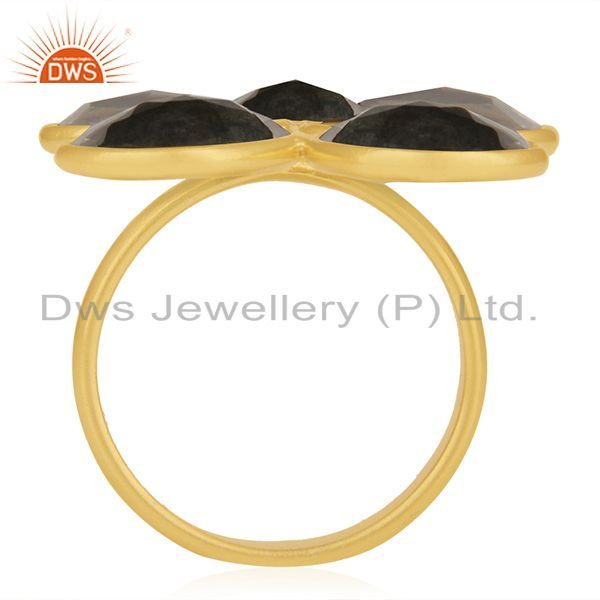 Suppliers Rose Quartz and Labradorite Gemstone 925 Silver Gold Plated Ring Manufacturer