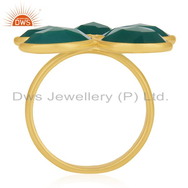 Suppliers Green Onyx 18K Gold Plated Sterling Silver Handmade Bezel Set Ring