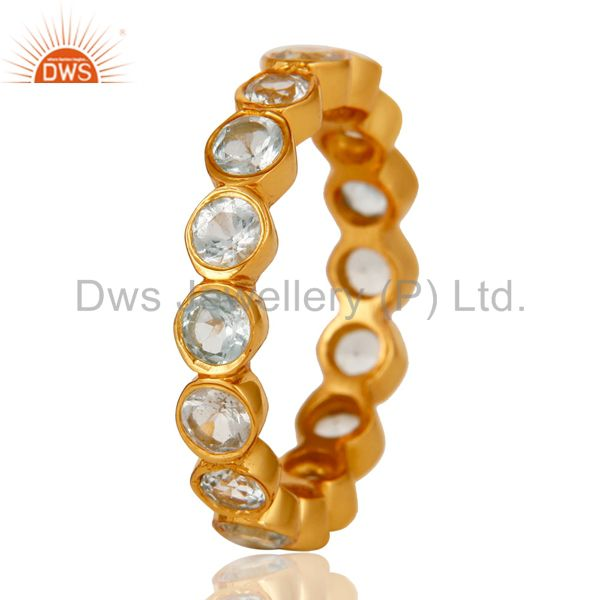 Suppliers 18K Gold Plated Sterling Silver Blue Topaz Ring Gemstone Band